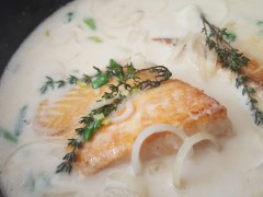 Coconut Ginger Poached Salmon